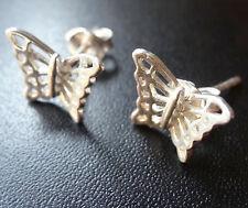 vintage 925 STERLING SILVER butterfly bug pierced stud earrings -C15
