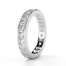 Certified 3.5mm 1.50Ct Princess Diamond Full Eternity Ring Hallmark White Gold