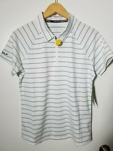 1 NWT SKECHERS GO GOLF WOMEN'S POLO, SIZE: LARGE, COLOR:WHITE/NAVY STRIPED(J112)