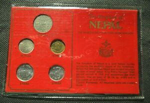 BANK MINT SET OF FIVE COINS OF THE KINGDOM OF NEPAL