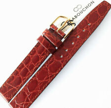 14mm CABOUCHON CROC GRAIN MID BROWN LEATHER WATCH STRAP. GOLD or SILVER BUCKLE
