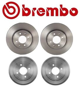 For Honda Fit 2009-2013 Front Coated Disc Rotors and Rear Brake Drums Kit Brembo