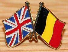 UK & BELGIUM FRIENDSHIP Flag Metal Lapel Pin Badge Great Britain