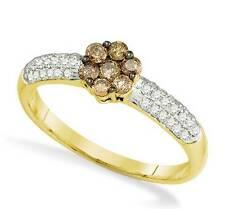 Chocolate Brown & White Diamond Ring 10K Yellow Gold Diamond Cluster .55ct