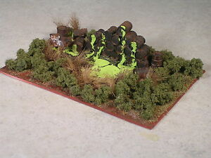N Scale Toxic Green Slime Chemical Spill involving Rusted Out 55 Gallon Drums