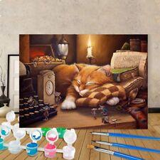 Neu Schlafenkatze Wohnen Leinwand Ölgemälde Zeichenkits Acrylfarben DIY Farbe
