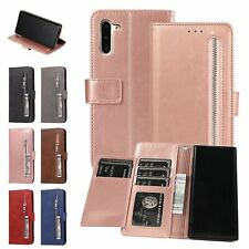 Zipper Leather Flip Wallet Phone Case Cover For Samsung S7 S8 S9 S10 Note 10