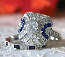 Gorgeous Sterling Silver Sapphire Blue & Ice CZ Double Ring Set Size 7