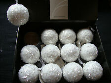 12 x Large Winter White Sequin Decorated Christmas Tree Baubles Decorations