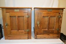 Pair of White Clad Oak Ice Box End Side Tables
