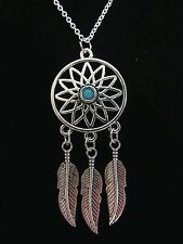 "NEW 18""  925 Sterling Silver Turquoise Center Dream Catcher Pendant Necklace"