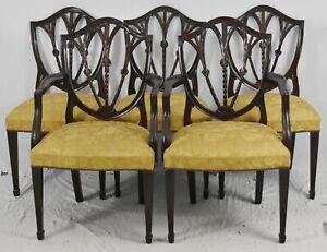 Set of 6 Mahogany Federal Shield Back Chairs Needlepoint Gold Silk Damask Fabric