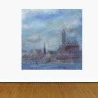 Gloucester Harbor Pre-Raphaelite Style New England Original Oil Painting Hughes