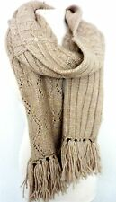 ZARA HOME Cable Knitted BEIGE Eclectic Tassle Winter Wool Blend Neck Scarf £39.9