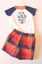 "Gymboree Sunset ""I'm A Wild One"" Plaid Shorts Outfit Infant Baby Boy 3-6 Months"