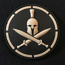 SPARTAN PVC TACTICAL BADGE BLACK OPS COMBAT US MILITARY SWAT HOOK PATCH