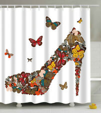 Butterfly High Heel Shoe Shower Curtain 70x70 Fabric w/Hooks