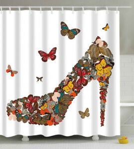 Butterfly High Heel Shoe Shower Curtain 70x70 Fabric w/Hooks
