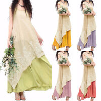 Women Short Sleeve Embroidered Sundress Summer Beach Party Long Maxi Dress Plus