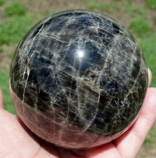 Big BLACK Moonstone Healing Crystal Sphere Ball Black Madonna Center Eye Stone