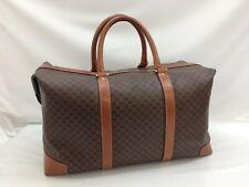 Auth CELINE Macadam Pattern Boston Hand Bag Brown Vintage 9D120270MKK