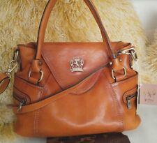 Pratesi Firenze Leather Cognac Satchel Purse Envelope Closure Handbag NWT Italy