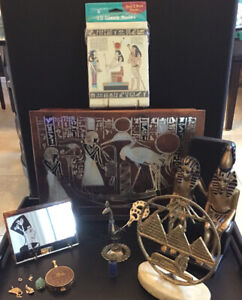 Large Lot Of Egyptian Items, Sculptures, Jewelry, Box, Mirror, Notecards