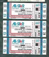 1974 football ticket lot of 3 College All Stars v Miami Dolphins, Soldier Field