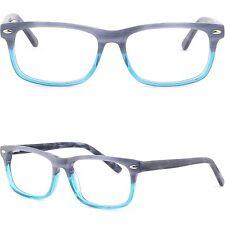 Rechteckig Damen Herren Acetat Brillen Kunststoff Brillengestell RX Fassung Blau