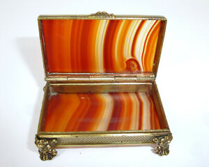 Seltene Agate Container With Feet Um 1880