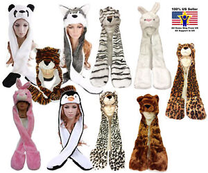 Animal Fluffy Plush Warm Full Hoodie Hat/Animal Hat Cap With Scarf Mitten Paws