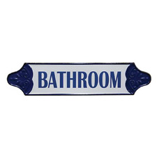 Vintage Blue Tin Bathroom Sign Decor