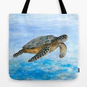 Tote Bag All over print Sea Turtle 1 Ocean Blue art painting L.Dumas