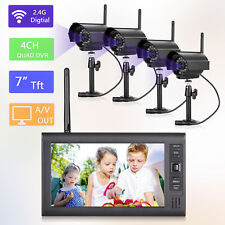 "Wireless 7""TFT LCD 2.4G Quad DVR Home Security System Night Vision CCTV Camera"