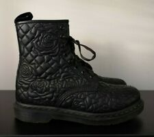 Womens Dr Martens Brause Black Leather Roses Pattern Boots - UK 7