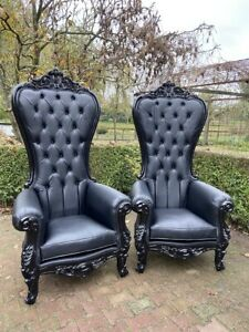 New Black on Black Baroque Style Tufted Throne Chairs - a Pair.