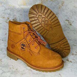 Timberland premium 6 inch boots Orange boys size 3 Women's 4.5