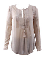 NEW Joseph A Women's Crinkle Tops With Crochet -Khaki-Large