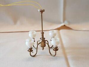 Dolls house artisan Wood n Wool brass four arm ceiling light / chandelier 1990's