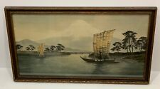 Vintage (pre 1970s) Japanese Painting on Silk Mt Fuji Water Boats Landscape