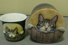 LANG CANDLES PORCELAIN VOTIVE HOLDER ~ CUTE KITTEN WITH MATCHING BOX!