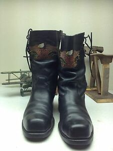 DISTRESSED HARLEY DAVIDSON USA EAGLE MOTORCYCLE BULLET HOLE BOOTS 11.5 M