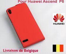 Top Qualite Flip Cuir  COQUE HOUSSE ETUI  POUR GSM  Huawei Ascend P6  Rouge