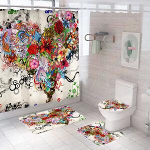 Floral Bathroom Rug Set Shower Curtain Thick Non-Slip Toilet Lid Cover Bath Mat