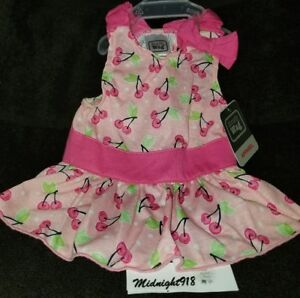 NEW SIMPLY WAG CHERRIES ALLOVER CORAL SLEEVELESS SUMMER GIRL PINK PET DRESS M
