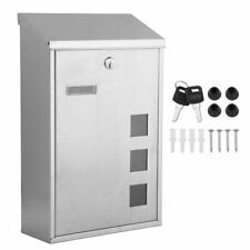 Post Box Metal Square Large Letter Mailbox Letterbox Wall Mounted Lockable BA