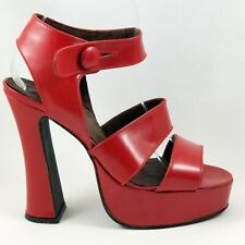Red Strappy Platform 8 M Pin Up Burlesque Bombshell Ankle Strap 90s does 40s