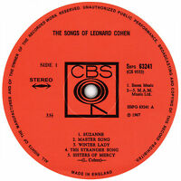 Songs Of Leonard Cohen. Record Label Vinyl Sticker.