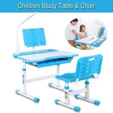 Kids Study Desk Ergonomic Children Table Height Adjustable LED Lamp & Bookstand
