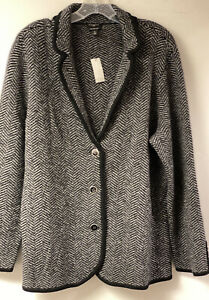 Nwt Talbots 3X Gray And  Black Houndstooth Pure Merino Wool Cardigan Sweater